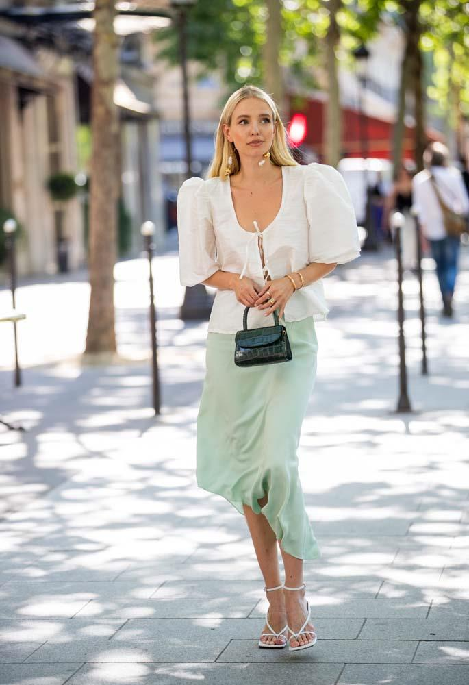 A wispy blouse and a slip skirt.