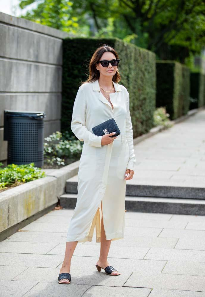 An updated shirt-dress and mules.