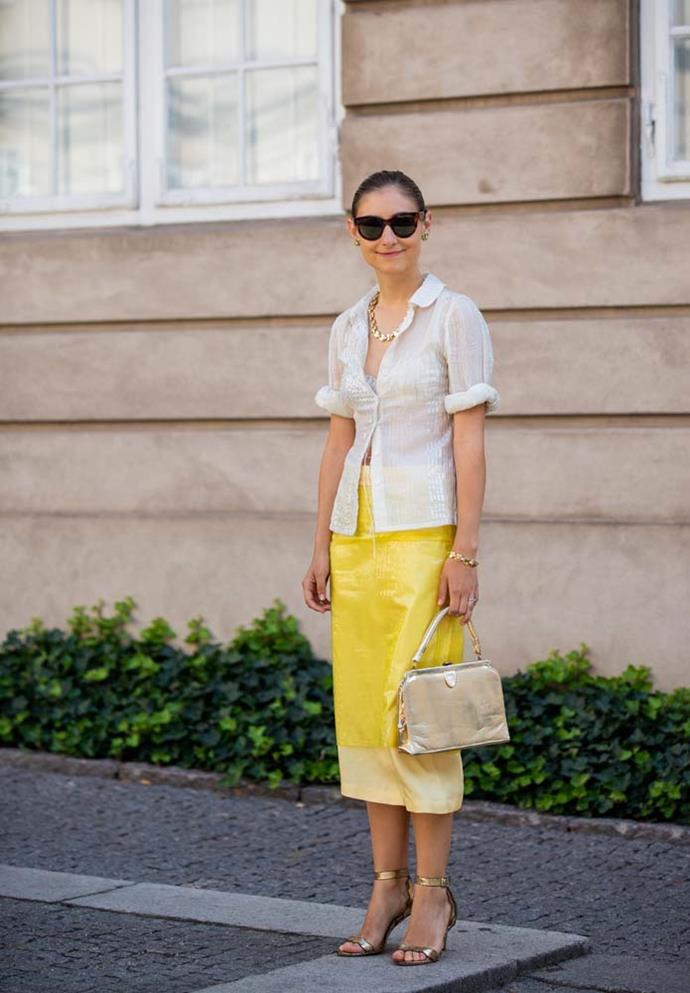 A rolled up button-up over a pencil skirt.