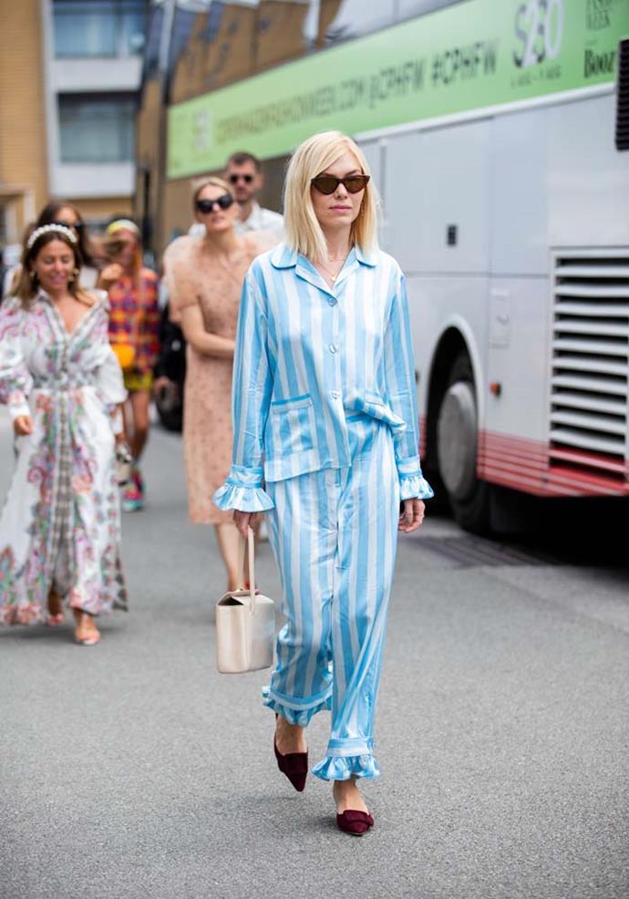 Silk pyjamas and grown-up heels.