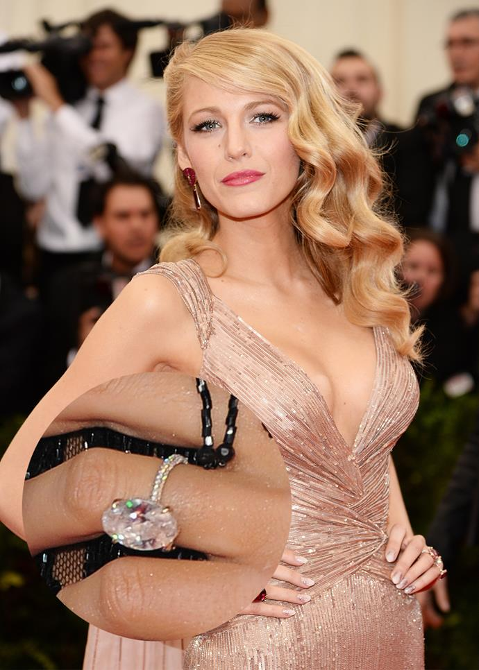 ***Blake Lively***<br><br> As classic as they come, Blake Lively's diamond ring from Ryan Reynolds is heart-stopping.