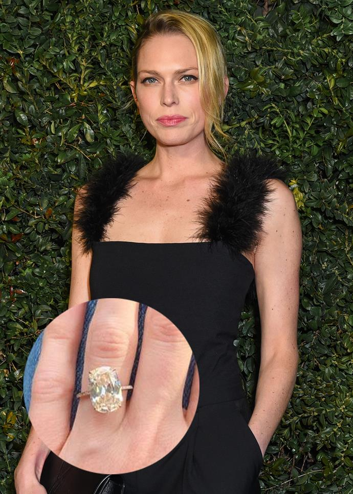 ***Erin Foster***<br><br> Although Foster's ring is slightly more of a rounded emerald-cut over a traditional oval, the classic setting puts it on the list.