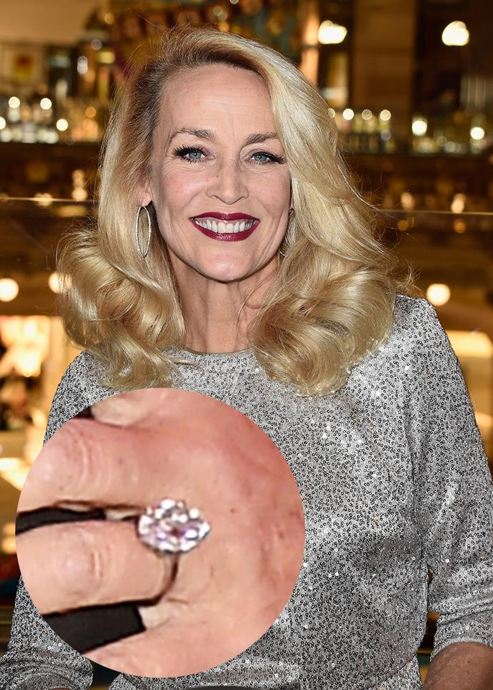 ***Jerry Hall***<br><br> Jerry Hall's colossal ring reportedly weighs in at over 20 carats.