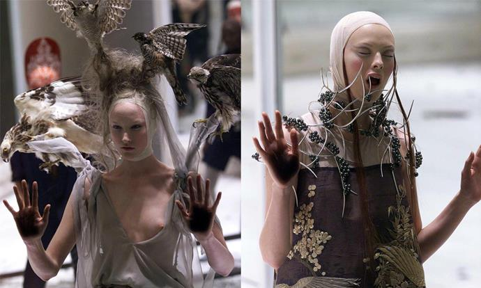 "**Alexander McQueen 'Voss' spring/summer '01 (2000)** <br><br> Alexander McQueen's 'Voss' collection is now considered iconic, but at its time, was one of the most controversial fashion shows in history. <br><br>  Shown in a pitch-black room, models like [Kate Moss](https://www.harpersbazaar.com.au/fashion/kate-moss-daughter-17427|target=""_blank"") and Karen Elson paraded inside the large observation box runway, wearing fantastical, revealing garments. At the end of the show, a box in the centre of the room opened to show a naked woman wearing an oxygen mask, surrounded by live insects. <br><br> *Images: Getty*"