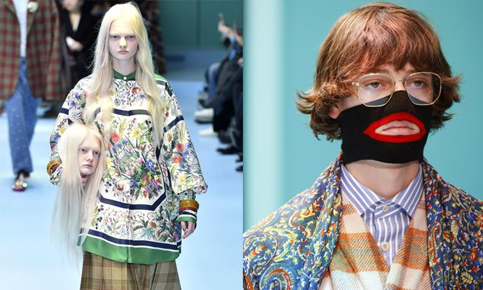 "**Gucci autumn/winter '18 (2018)** <br><br> Gucci's spring/summer '18 collection was instantly iconic, involving small baby dragons and models holding recreations of their own heads. However, the collection experienced a gaffe when a black sweater with a red cut-out mouth came under fire on the Internet for resembling blackface (pictured is the non-sweater version of the garment). <br><br> Gucci withdrew the garment from stores in February 2019, and said in a brand statement that they are ""fully committed to increasing diversity throughout our organization"". <br><br> *Images: Getty*"