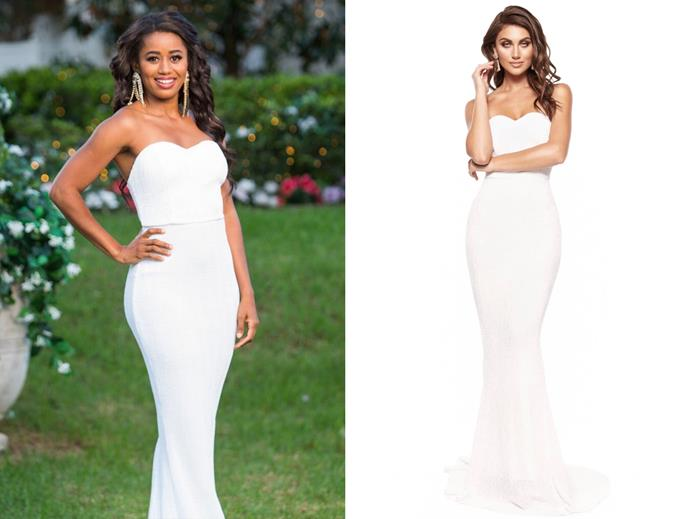 "Mary wears the 'Chloe' dress, $320 by [A&N Lux](https://anofficial.com/collections/white-dresses/products/in-stock-chloe-sparkling-gown-white|target=""_blank""