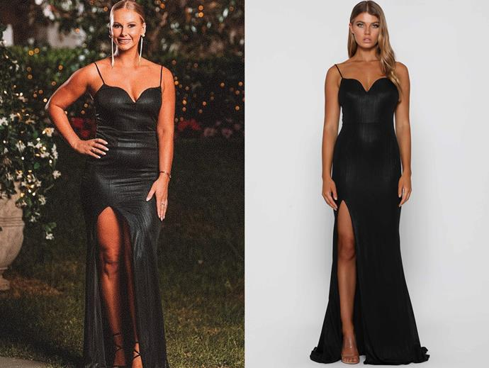 "Rachael wears the 'Brooks' gown, $339.95 by [Elle Zeitoune](https://www.ellezeitoune.com.au/item/1185-Brooks-Black/|target=""_blank""