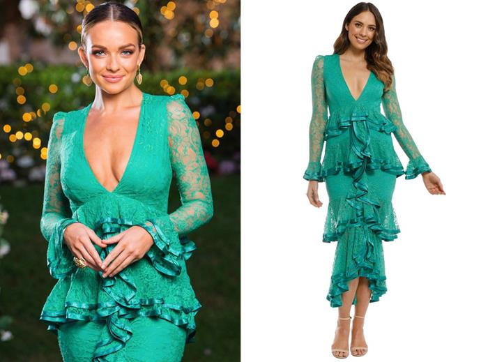 "Abbie wears the 'Maia' dress by Nicola Finetti, $149 per week at [Glam Corner](https://www.glamcorner.com.au/designers/nicola-finetti/maia-dress-green|target=""_blank""