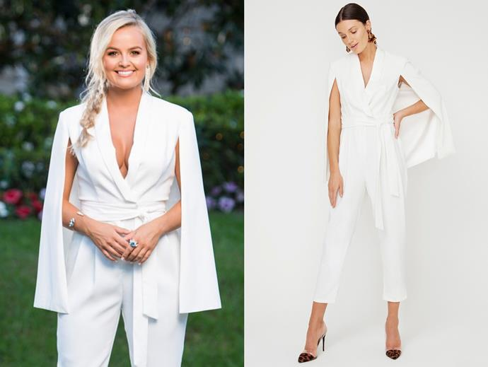 "Elly wears the 'Caped' jumpsuit, $199.95 by [Sheike](https://www.sheike.com.au/caped-jumpsuit-white|target=""_blank""
