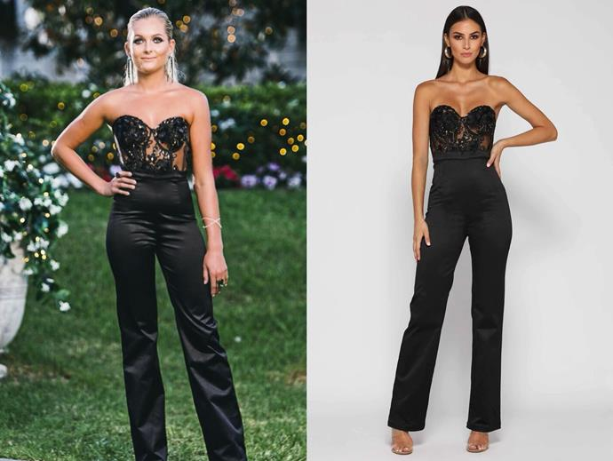 "Nichole wears the 'Margarete' jumpsuit, $299.95 by [Elle Zeitoune](https://www.ellezeitoune.com.au/item/1243-Margarete-Black-Jumpsuit/|target=""_blank""
