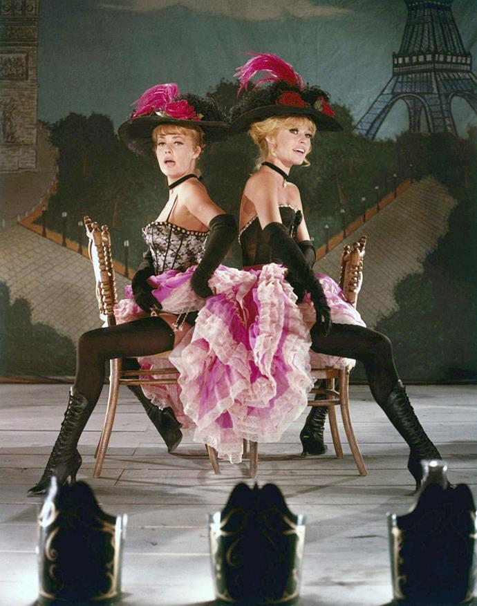 Jeanne Moreau and Brigitte Bardot in showgirl-style corsets in *Viva Maria* in 1965.