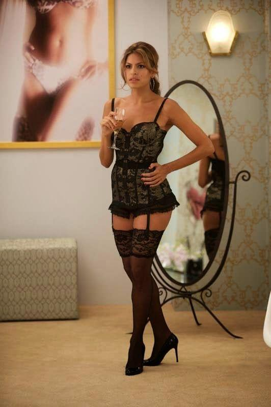 Eva Mendes in a black lace corset in *The Women* in 2008.