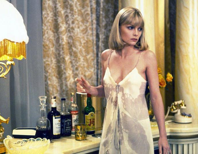 Michelle Pfeiffer in a printed lingerie set in *Scarface* in 1984.