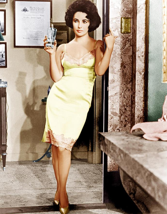 Elizabeth Taylor in a silk slip in *Butterfield 8* in 1960.