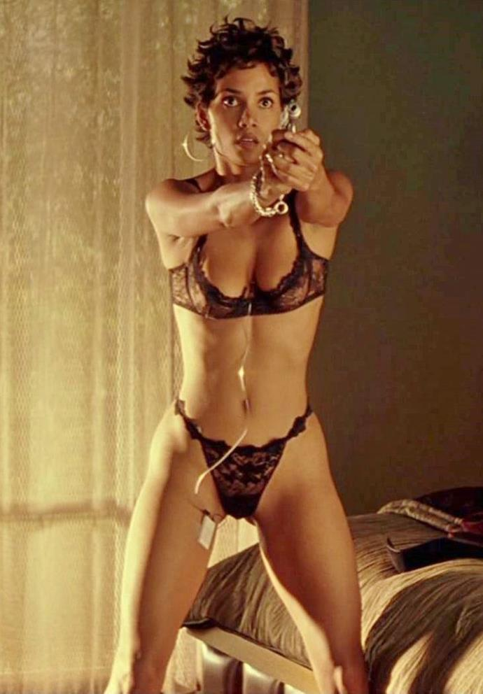 Halle Berry in a black lace set in *Swordfish* in 2001.