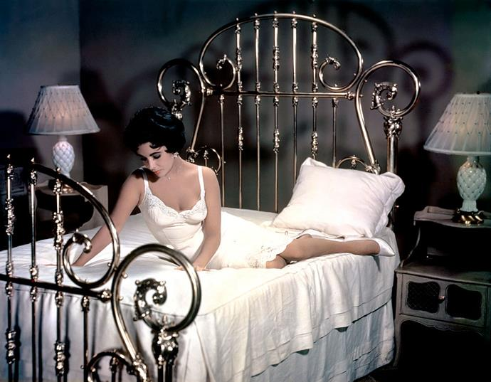 Elizabeth Taylor in a lace-trimmed slip in *Cat On A Hot Tin Roof* in 1958.