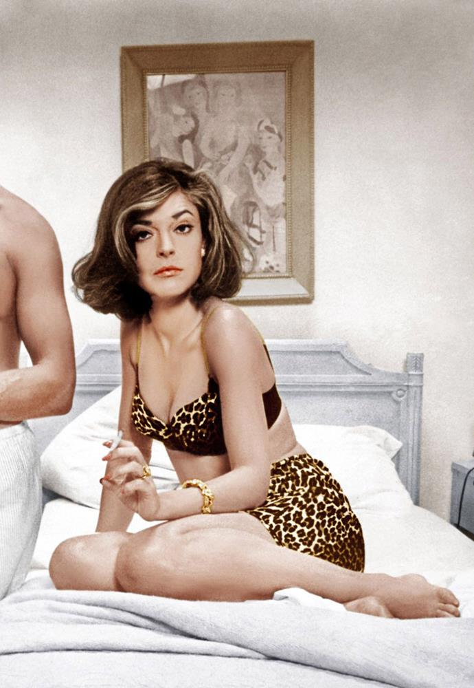 Anne Bancroft wearing a leopard print set in *The Graduate* in 1967.