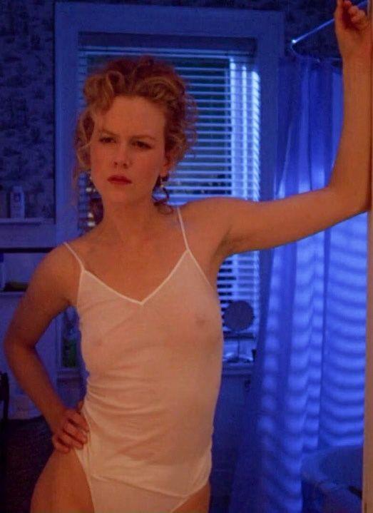 Nicole Kidman in a translucent white camisole and underwear in *Eyes Wide Shut* in 1999.