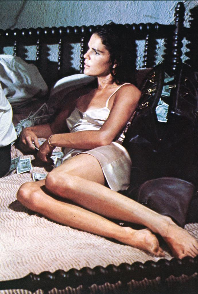 Ali MacGraw in a silk slip in *The Getaway* in 1972.