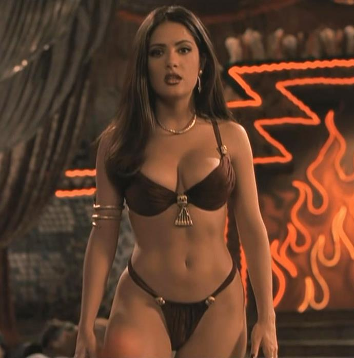 Salma Hayek in a maroon lingerie set with gold hardware in *From Dusk Til Dawn* in 2001.