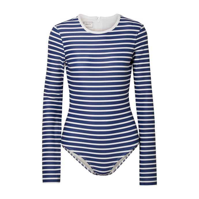 "One piece by Cover, $306 AUD at [NET-A-PORTER](https://www.net-a-porter.com/au/en/product/1161959/cover/striped-swimsuit|target=""_blank""