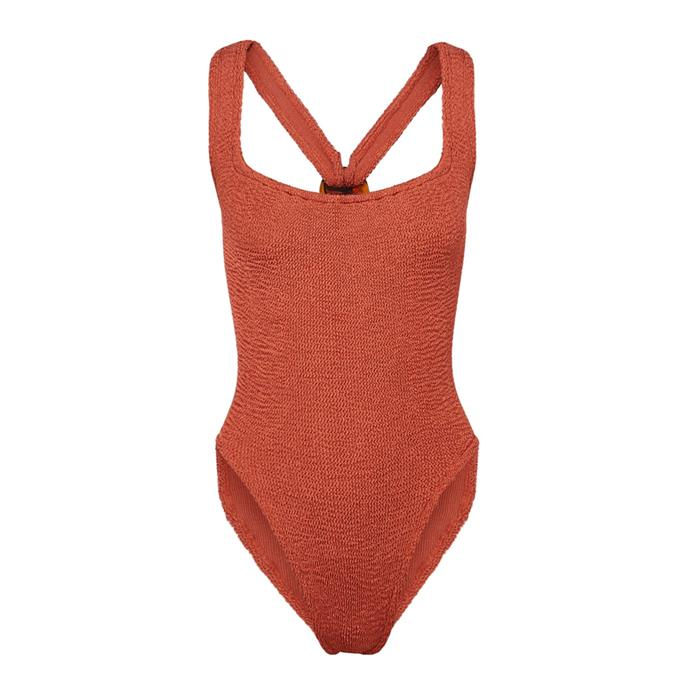 "One piece by Hunza G, $212 AUD at [NET-A-PORTER](https://www.net-a-porter.com/au/en/product/1184077/hunza_g/zora-seersucker-swimsuit|target=""_blank""