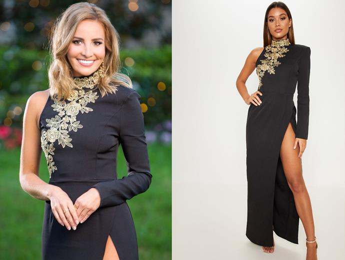 "Kristen wears the 'Black High Neck Asymmetric Embroidered Trim Maxi Dress', $88 by [Pretty Little Thing](https://www.prettylittlething.com.au/black-high-neck-asymmetric-embroidered-trim-maxi-dress.html|target=""_blank""