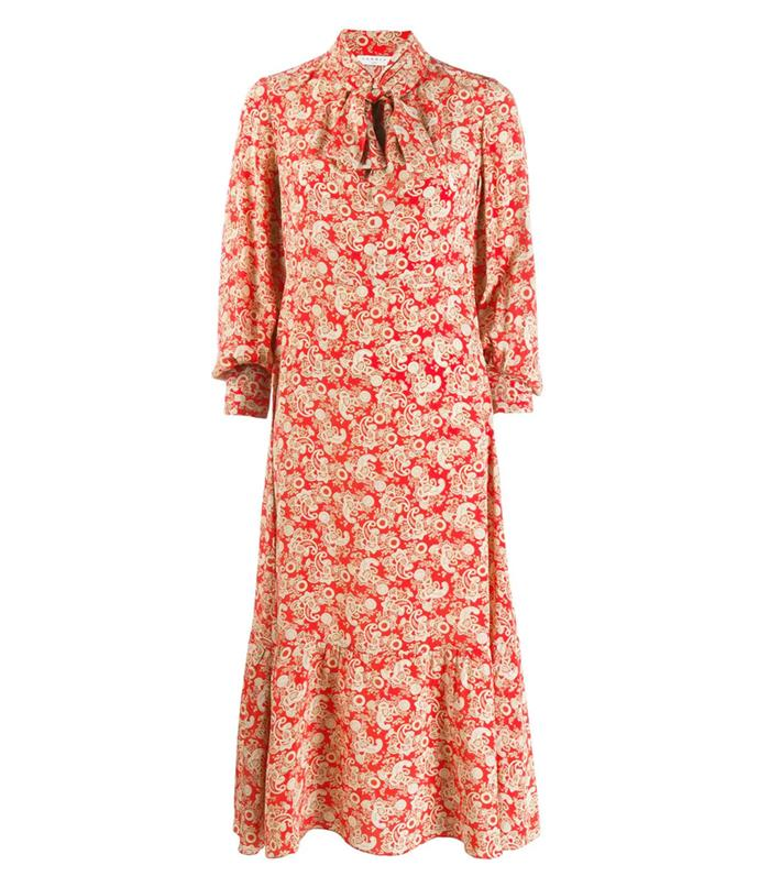 """Dress by [Sandro](https://www.sandro-paris.com.au/new-in/long-printed-silk-dress-red/?utm_source=article&utm_medium=native_article&utm_campaign=Harpers_bazaar_the_prairie_trend&utm_term=new_fall_winter_collection target=""""_blank"""" rel=""""nofollow""""), $950"""