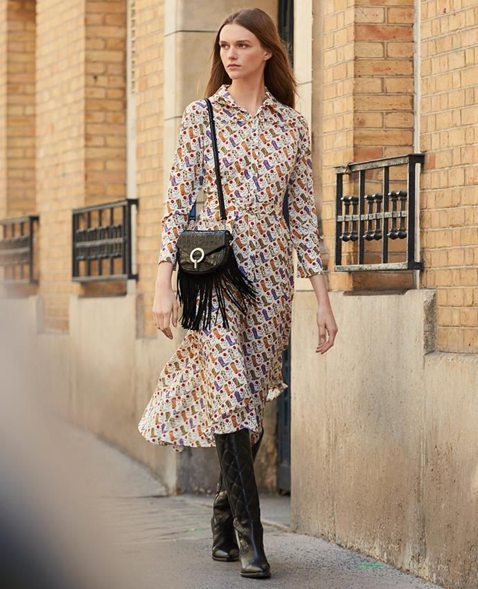 "Dress by [Sandro](https://www.sandro-paris.com.au/new-in/cowboy-boot-print-shirt-dress-multiclr/?utm_source=article&utm_medium=native_article&utm_campaign=Harpers_bazaar_the_prairie_trend&utm_term=new_fall_winter_collection|target=""_blank""