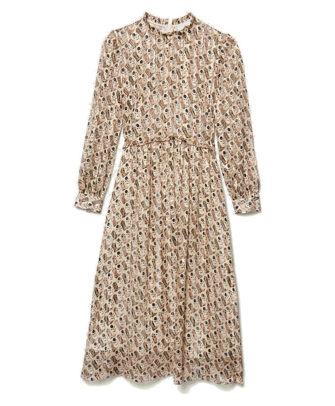 "Dress by [Sandro](https://www.sandro-paris.com.au/new-in/printed-lurex-silk-midi-dress-beige/?utm_source=article&utm_medium=native_article&utm_campaign=Harpers_bazaar_the_prairie_trend&utm_term=new_fall_winter_collection|target=""_blank""
