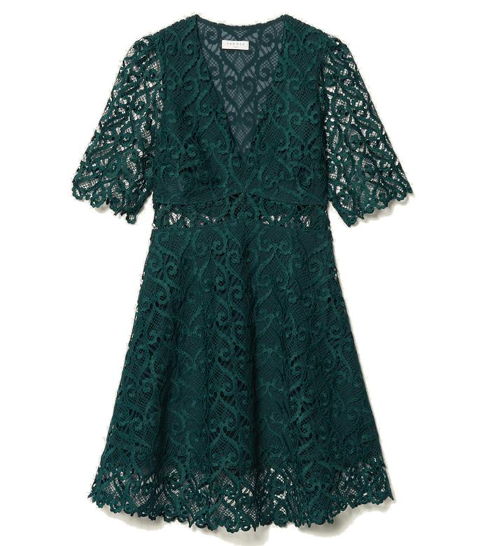 "Dress by [Sandro]([https://www.sandro-paris.com.au/new-in/black-turquo/](https://www.sandro-paris.com.au/new-in/short-dress-sweetheart-guipure-neckline-green/?utm_source=article&utm_medium=native_article&utm_campaign=Harpers_bazaar_the_prairie_trend&utm_term=new_fall_winter_collection|target=""_blank""