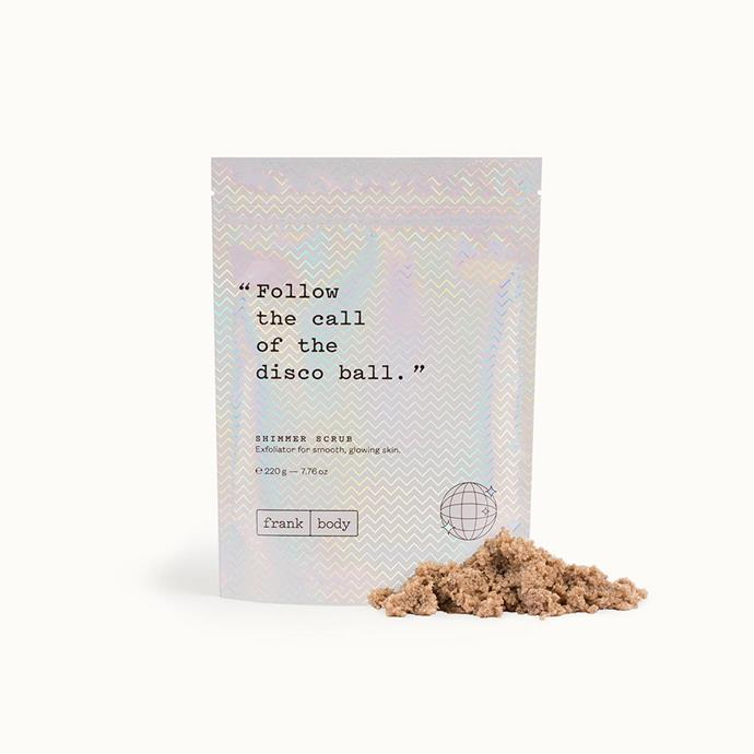 """***Shimmer Scrub by Frank body, $19.95 from [Frank Body](https://www.frankbody.com/au/products/shimmer-scrub/