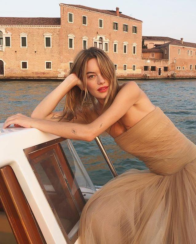 "**Camille Rowe in Khaite**  <br><br> ""If I ever attend the Venice Film Festival this is exactly what I want to look like."" <br> —*Grace O'Neill, Fashion Features Director*"