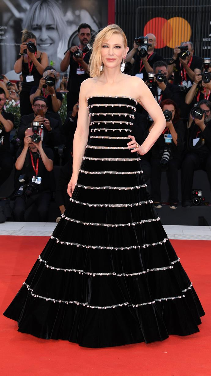 "**Cate Blanchett in Armani Privé** <br><br> ""In fashion there aren't many better match-ups than Cate and Armani. Not only is the dress gorgeous but it's carried so well by Cate's statuesque figure and easy elegance."" <br> —*Mahalia Chang, Digital Managing Editor*"