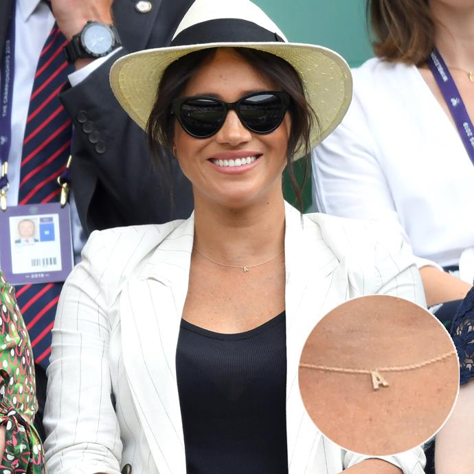 "At Wimbledon in July, Meghan was seen wearing an 'A' necklace, which was gifted to her by Australian brand [Verse](https://www.versefinejewellery.com/collections/love-letters/products/love-letters-1?|target=""_blank""