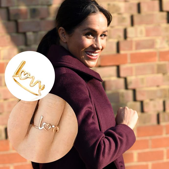 In 2018, Meghan stepped out wearing this 'LOVE' ring by Solange Azagury-Partridge.