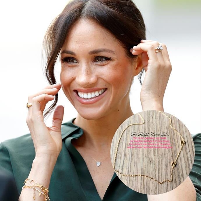 "Meghan's famous 'H & M' necklace—worn pre-engagement—was made by [Right Hand Gal](https://therighthandgal.com/collections/necklaces/products/mini-initial-necklace-for-guests-of-meghans-mirror|target=""_blank""