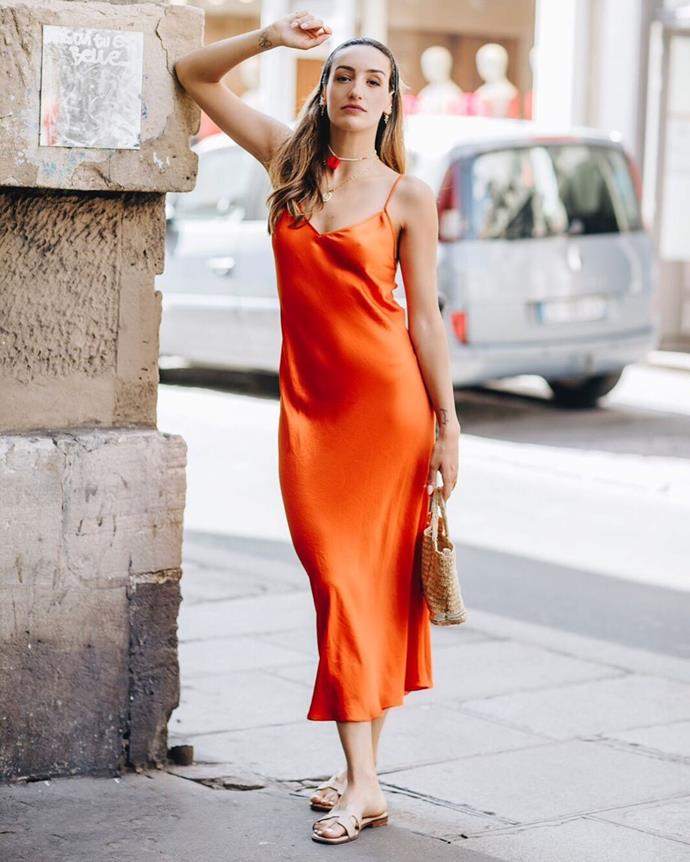 """***The colourful slip dress***<br><br>  The slip dress is a staple for all seasons, but there's no denying the joy of wearing it *sans* sweater in warmer weather.  For the ultimate take this spring, go for bright hues such as bold mango, limoncello or tangerine, like Parisienne blogger, Kenza Sadoun el Glaoui.<br><br>   *Image via [@kenzasmg](https://www.instagram.com/p/BzNTXRmh0nW/