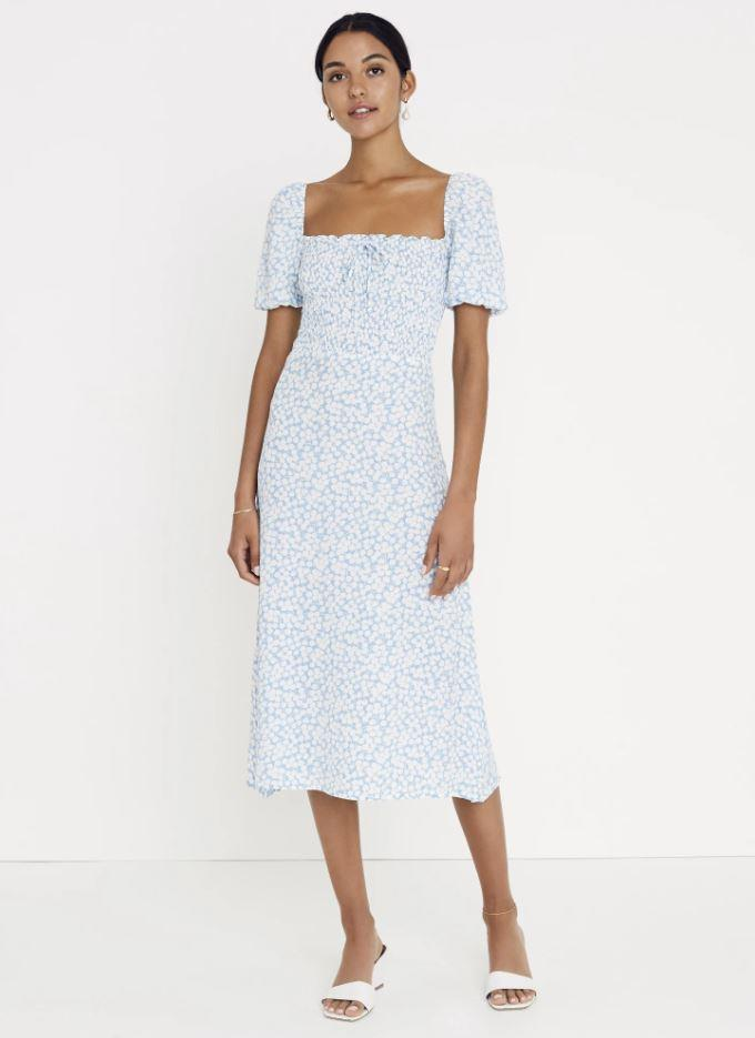 """***The delicately printed dress***<br><br>  'Marjorelle Midi Dress' by Faithfull The Brand, $199 from [Faithfull The Brand](https://au.faithfullthebrand.com/collections/just-in-clothing-1/products/bella-floral-print-riviera-blue-majorelle-midi-dress