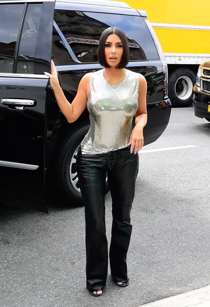 Kim Kardashian West at New York Fashion Week in September 2019.