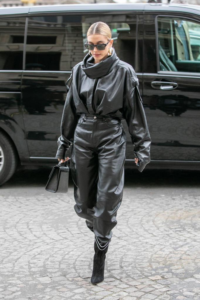 Hailey Bieber at Paris Fashion Week in March 2019.