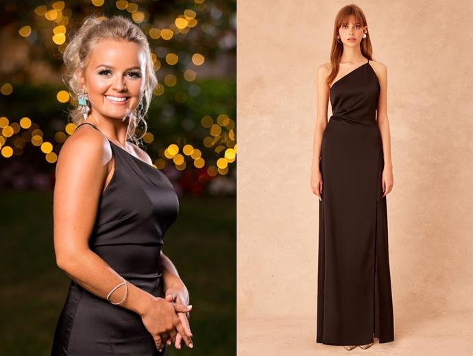 "Elly wears the 'Captivating' gown by Keepsake, $239.95 at [BNKR](https://fashionbunker.com/captivating-gown-black|target=""_blank""