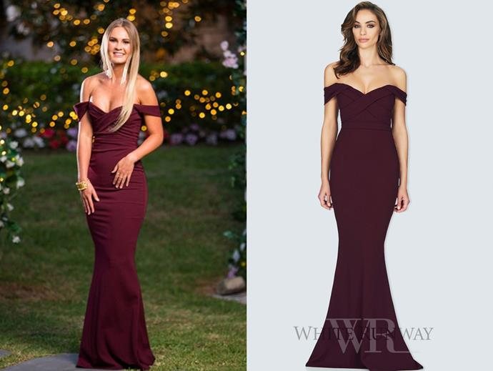 "Chelsie wears the 'Camille' gown by Nookie, $266.86 at [White Runway](https://whiterunway.com/shop-designer/nookie/camille-gown.html|target=""_blank""