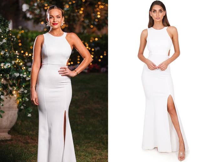 "Abbie wears the 'Hannah' dress, $249.99 by [Billy and Bo](https://billyandboo.com/e-boutique/dresses/formal-prom-maxi-dresses/pre-order-the-hannah-gown-white/|target=""_blank""
