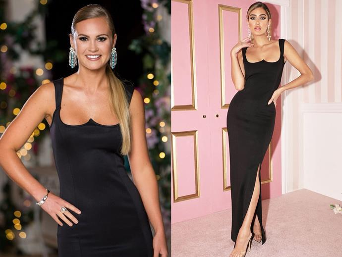 "Chelsie wears the 'Structured Bodice Dress,' $58 by [Pretty Little Thing](https://www.prettylittlething.com.au/black-structured-bodice-maxi-dress.html|target=""_blank""