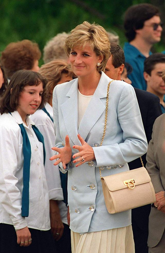 Diana, Princess of Wales, in Argentina with her Lady D Salvatore Ferragamo Bag; 1995.