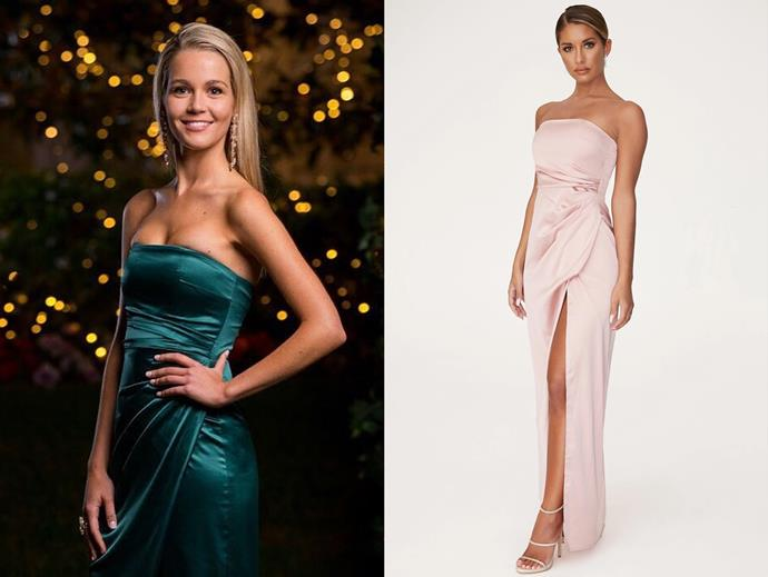 "Helena wears the 'Riely' dress, $169 by [Meshki](https://www.meshki.com.au/collections/maxi-dresses/products/riely-ruched-strapless-drape-split-dress-rose?variant=29405982851147|target=""_blank""