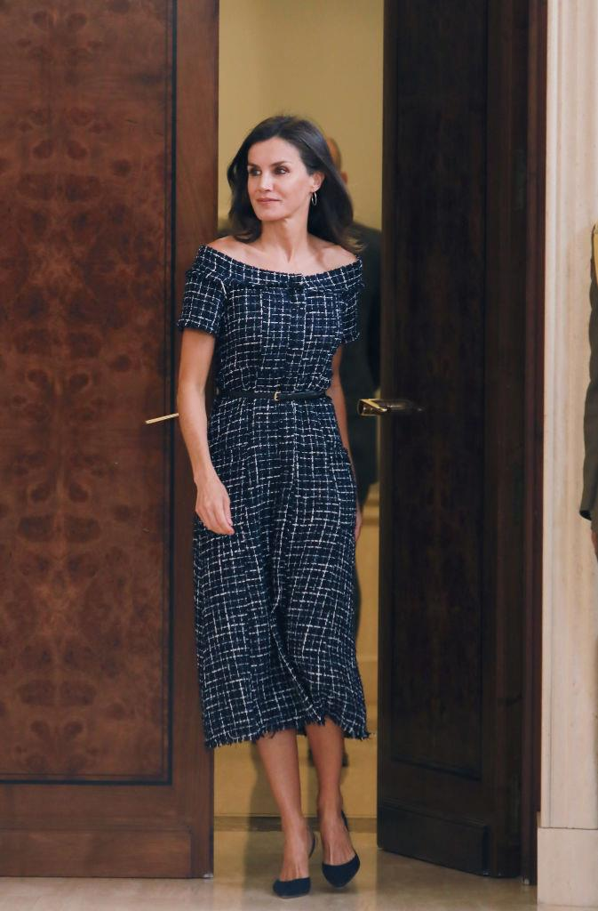 Queen Letizia of Spain in a $69.95 AUD tweed dress by ZARA in July 2019. <br><br> *Image: Getty*