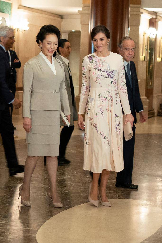 Queen Letizia of Spain in a $167 AUD embroidered dress by ASOS in November 2018. <br><br> *Image: Getty*