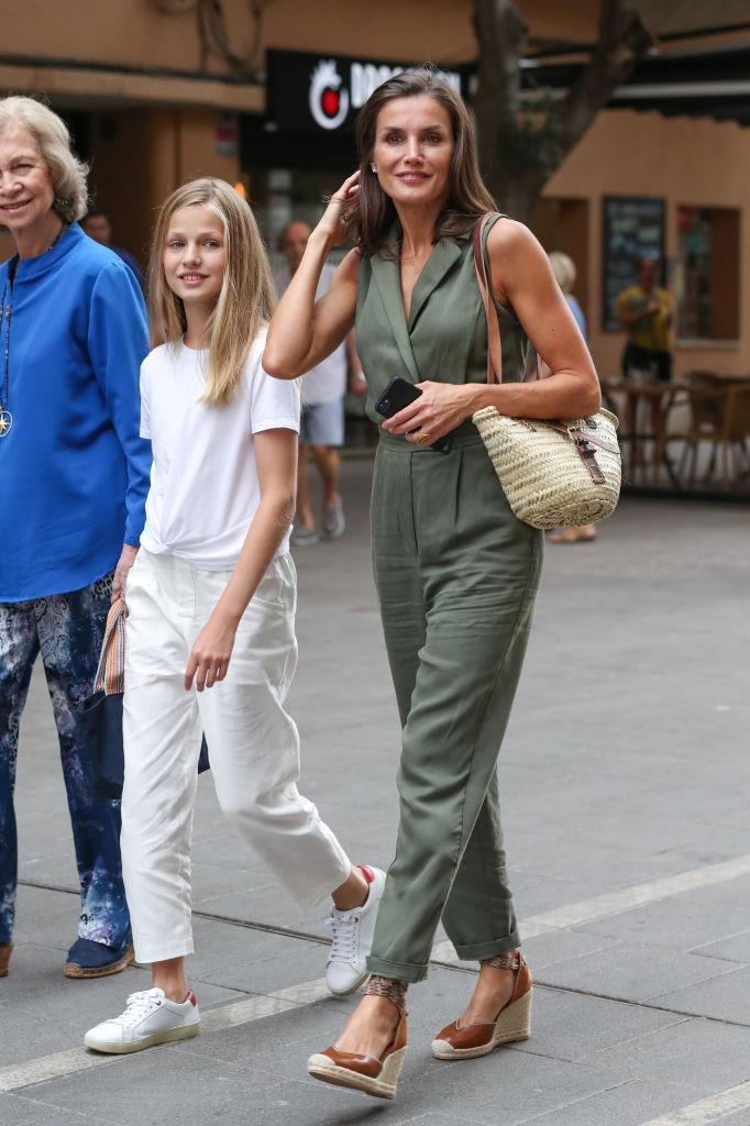 Queen Letizia of Spain in a $150 AUD jumpsuit by ZARA in August 2019. <br><br> *Image: Getty*